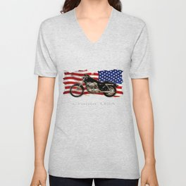 Patriotic US Flag and Motorcycle Unisex V-Neck