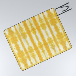 Yellow Tiki Shibori Picnic Blanket
