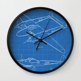 Lockheed P-31 Airplane Patent - Lightning Aircraft Art - Blueprint Wall Clock