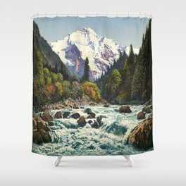 Mountains Forest Rocky River Shower Curtain