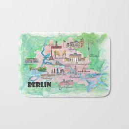 Berlin Germany Map Travel Poster Overview Best Of Typical Highlights Bath Mat