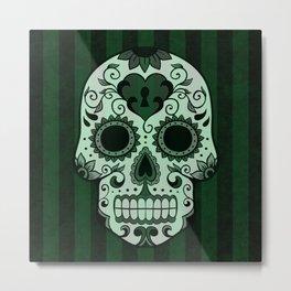 Día de los Muertos in Emerald Green Metal Print