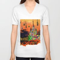 moscow V-neck T-shirts featuring Moscow  by sladja