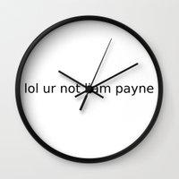 liam payne Wall Clocks featuring lol ur not liam payne by Directioner's Wardrobe