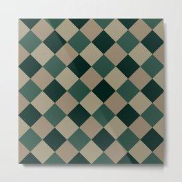 Brown green plaid Metal Print