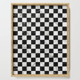 Marble Checkerboard Pattern - Black and White Serving Tray