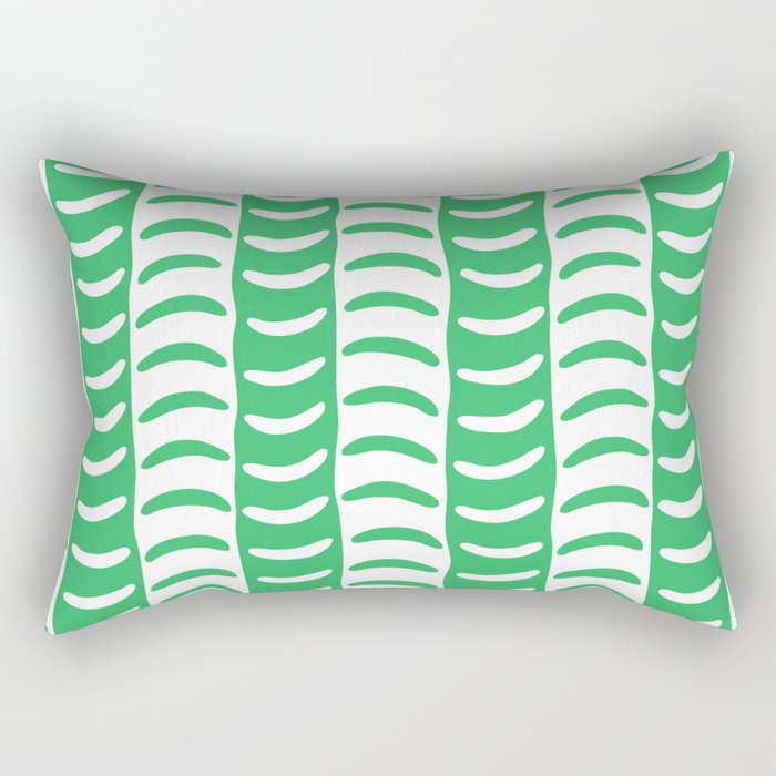 Wavy Stripes Green Rectangular Pillow