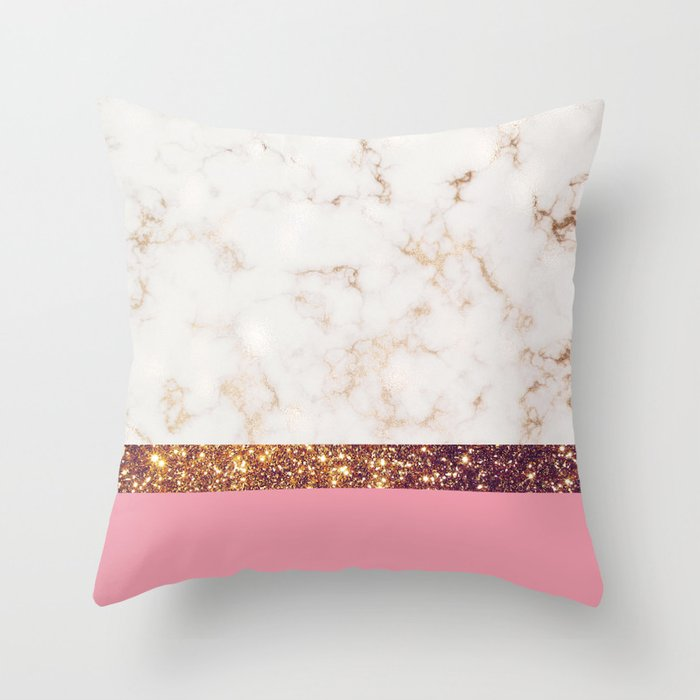 Textured Color Block - Rose Gold & Pink - Marble & Glitter Throw Pillow