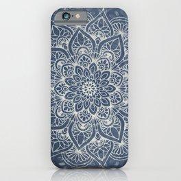 Boho Mandala, Flower, Navy Blue iPhone Case
