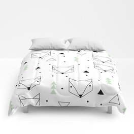 Scandinavian woodland fox forest mint black and Comforters