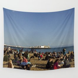 Busy Brighton Beach Wall Tapestry