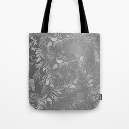 Luxury chic faux silver glitter floral Tote Bag