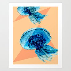 Geometric Jellyfish Beach Cottage Style Colorful Art Print