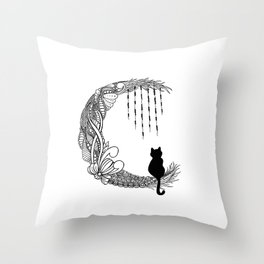 Black Cat Crescent Moon Throw Pillow