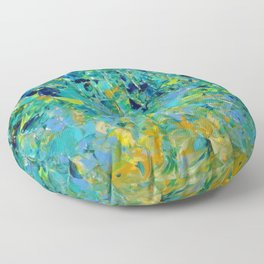 BEAUTY BENEATH THE SURFACE - Stunning Ocean River Water Nature Green Blue Teal Yellow Aqua Abstract Floor Pillow