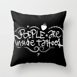 People are inside tattoos - Emilie Record Throw Pillow