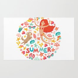 Summertime card. Circle cartoon design  with summer icons, girl with a dog and text. Isolated vector Rug