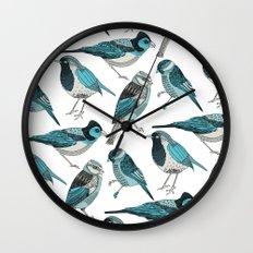 pale green birds Wall Clock
