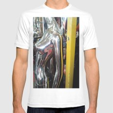 SILVER NUDE White Mens Fitted Tee SMALL