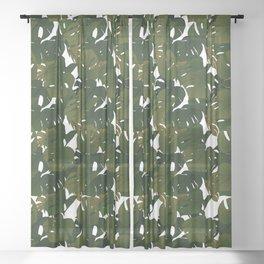 Monstera (Jungle) - Olive x White Sheer Curtain