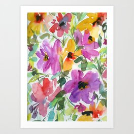 floral watercolor: purple and orange flowers Art Print
