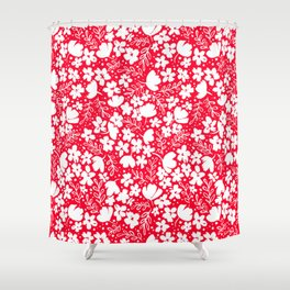 Love Blossoms Pattern White on Red Shower Curtain