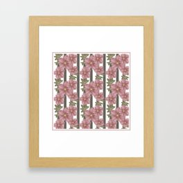 The floral pattern on striped background . Framed Art Print
