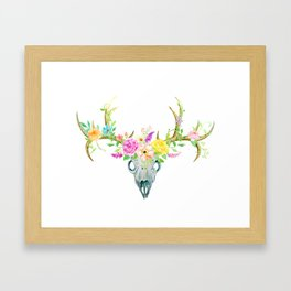Watercolor Deer Skull Rose Bouquet Framed Art Print