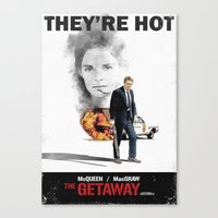 steve mcqueen Canvas Prints featuring The Getaway, 1972, Steve McQueen, Ali MacGraw by mcclane83