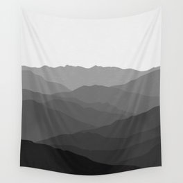 Shades of Grey Mountains Wall Tapestry