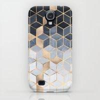 Samsung Galaxy S4 Case featuring Soft Blue Gradient Cubes by Elisabeth Fredriksson