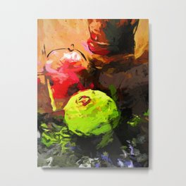 Lime Pepper Apple Red Metal Print