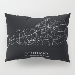 Kentucky State Road Map Pillow Sham