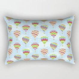 Colorful Hot Air Balloons Going Up Rectangular Pillow