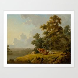 IBBETSON, JULIUS CEASAR (Farley Moor 1756 - 1817 Masham) Woodland and river landscape with cows. 180 Art Print