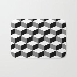 Cube Pattern Black White Grey Bath Mat