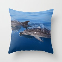 Mother and baby spotted dolphin Throw Pillow