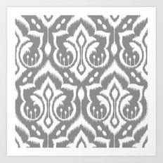 Ikat Damask Gray Art Print