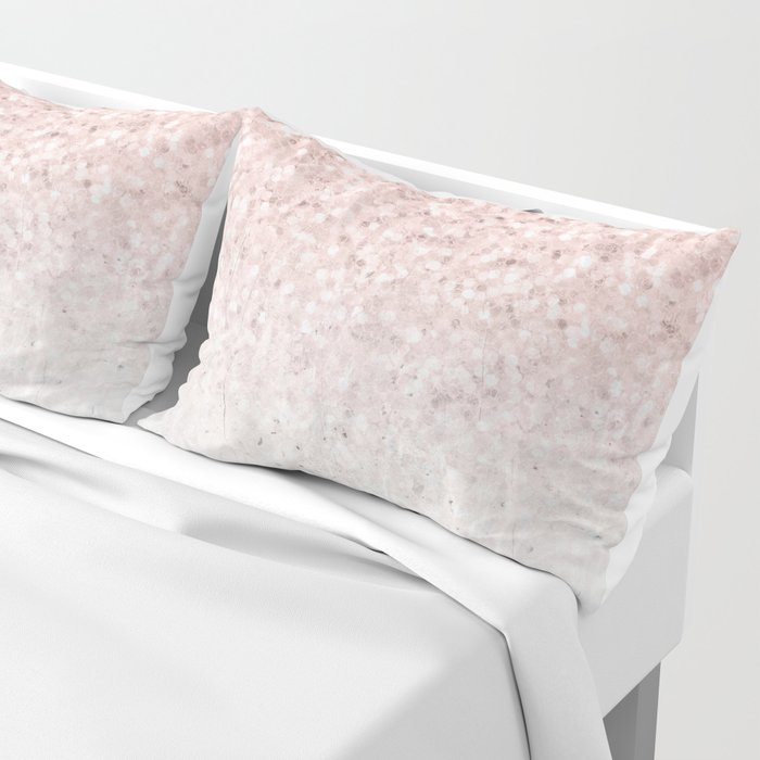 She Sparkles Rose Gold Pink Concrete Luxe Pillow Sham
