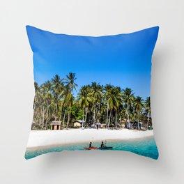 Dream island; white beach, blue sea, palm trees | Philippines | Travel print photography wanderlust Throw Pillow