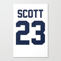 one tree hill Canvas Prints featuring One Tree Hill - Nathan's Jersey by Connie Yu
