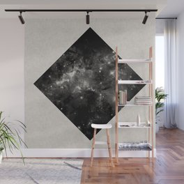 Space Diamond - Abstract, geometric space scene in black and white Wall Mural