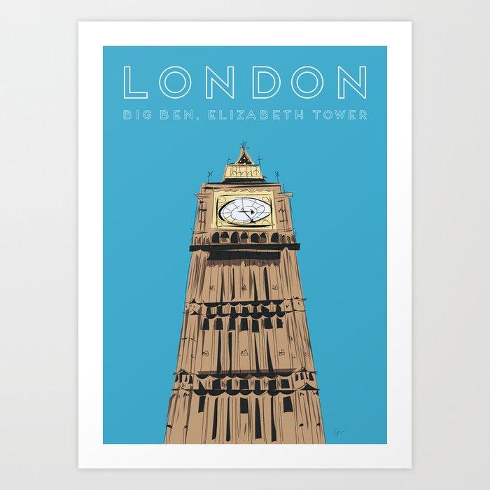 London Big Ben Travel Poster Kunstdrucke