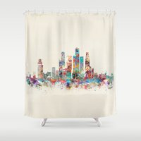 singapore Shower Curtains featuring Singapore city skyline by bri.buckley