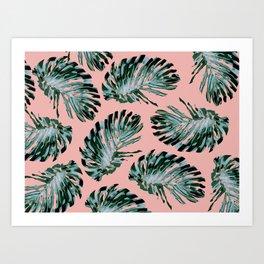 Pink and Green Tropical Leaf Print Kunstdrucke