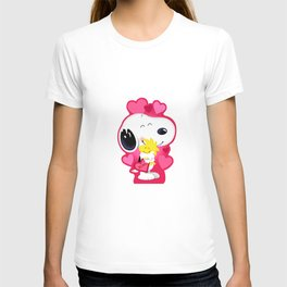 Snoopy pink hug T-shirt
