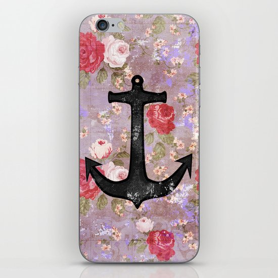 Vintage Nautical Anchor Purple Pink Floral Pattern  iPhone & iPod Skin