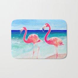 Flamingo Beach - tropical pink flamingos   ocean   resort   seaside   summer Bath Mat