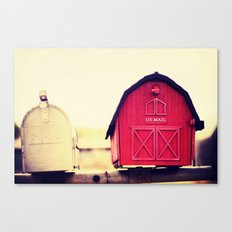 Red barn mail box Canvas Print