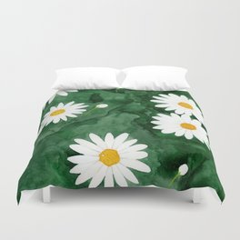 Daises In Emerald Fields Duvet Cover